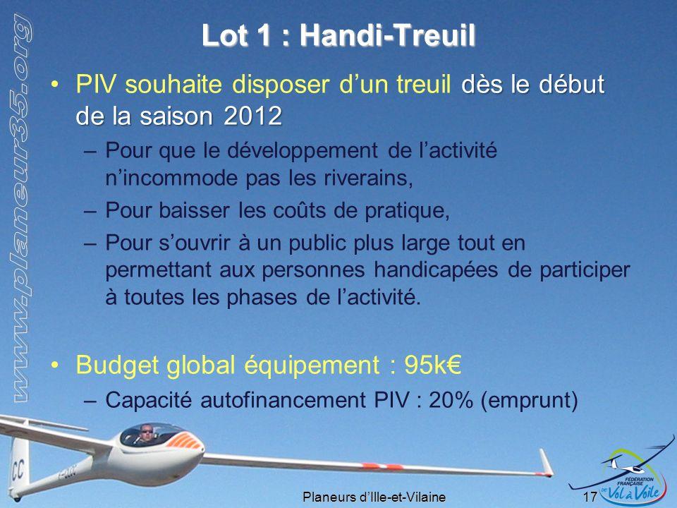 Planeurs dIlle-et-Vilaine 17 Lot 1 : Handi-Treuil dès le début de la saison 2012PIV souhaite disposer dun treuil dès le début de la saison 2012 –Pour
