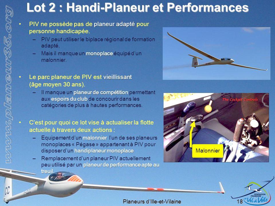 Planeurs dIlle-et-Vilaine 18 Lot 2 : Handi-Planeur et Performances planeur adaptéPIV ne possède pas de planeur adapté pour personne handicapée. –PIV p