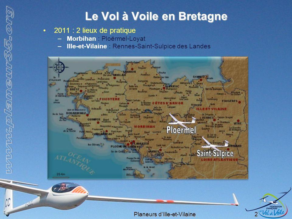 Planeurs dIlle-et-Vilaine 2 Le Vol à Voile en Bretagne 2011 : 2 lieux de pratique –Morbihan : Ploërmel-Loyat –Ille-et-Vilaine : Rennes-Saint-Sulpice d