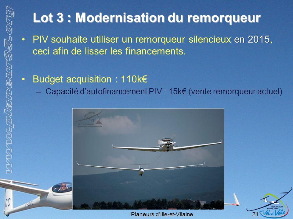 Planeurs dIlle-et-Vilaine 21 Lot 3 : Modernisation du remorqueur en 2015PIV souhaite utiliser un remorqueur silencieux en 2015, ceci afin de lisser le