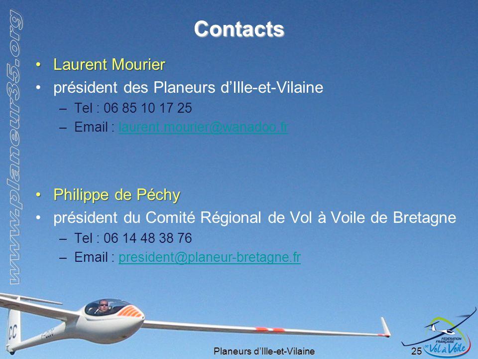 Planeurs dIlle-et-Vilaine 25 Contacts Laurent MourierLaurent Mourier président des Planeurs dIlle-et-Vilaine –Tel : 06 85 10 17 25 –Email : laurent.mo