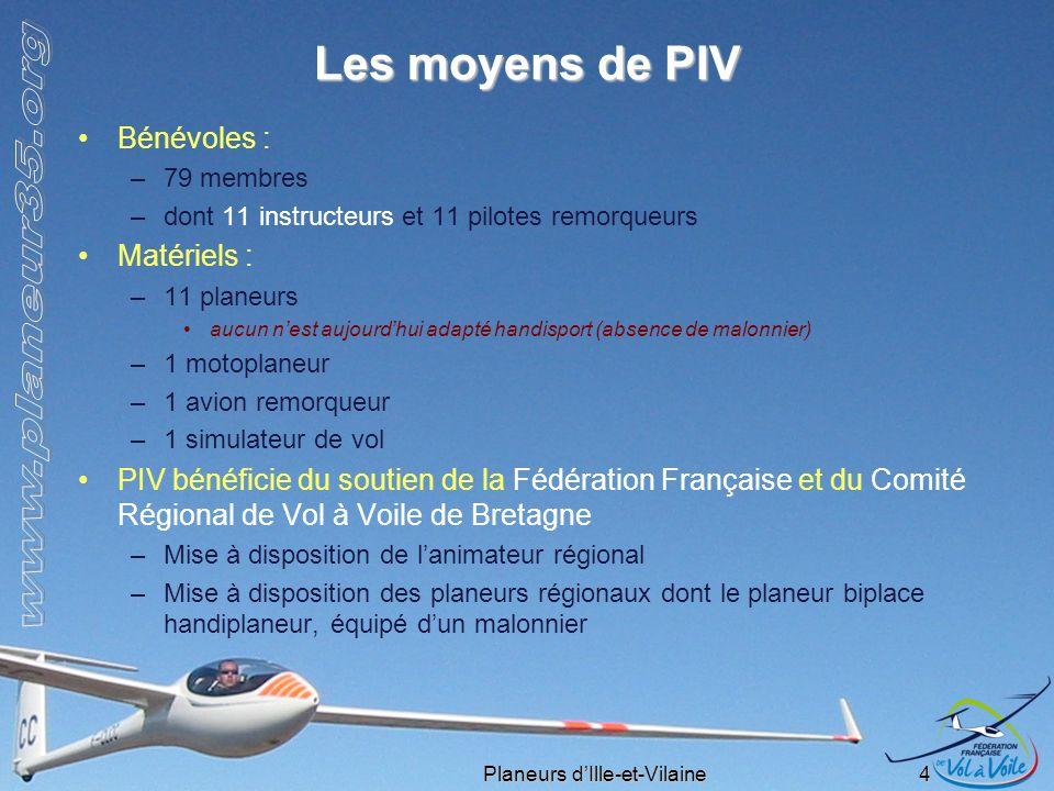 Planeurs dIlle-et-Vilaine 4 Les moyens de PIV Bénévoles : –79 membres –dont 11 instructeurs et 11 pilotes remorqueurs Matériels : –11 planeurs aucun n