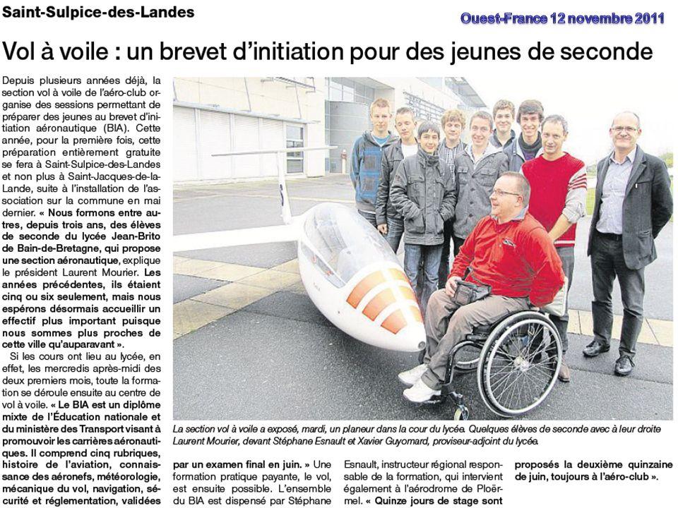 Planeurs dIlle-et-Vilaine 8 Témoignage dun jeune du Lycée Jean Brito Au féminin!