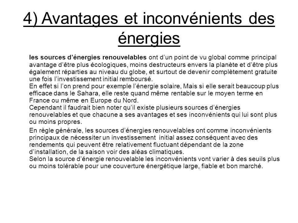 4) Avantages et inconvénients des énergies les sources dénergies renouvelables ont dun point de vu global comme principal avantage dêtre plus écologiq