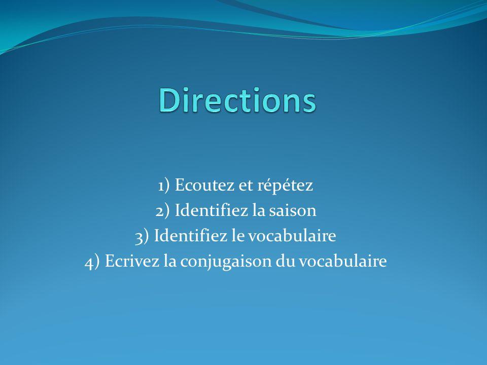 1) Ecoutez et répétez 2) Identifiez la saison 3) Identifiez le vocabulaire 4) Ecrivez la conjugaison du vocabulaire