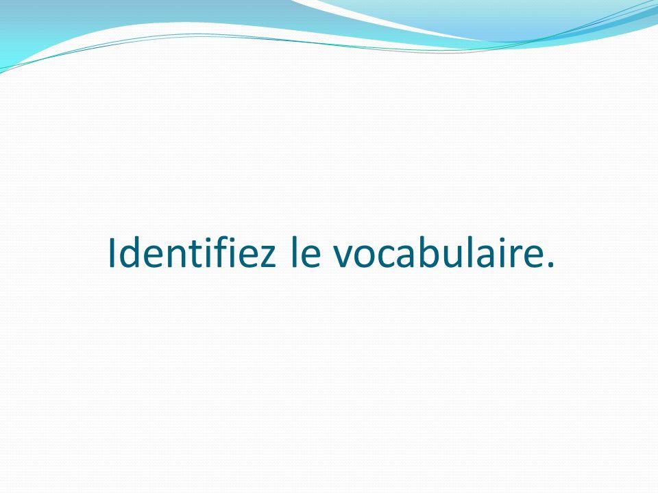 Identifiez le vocabulaire.