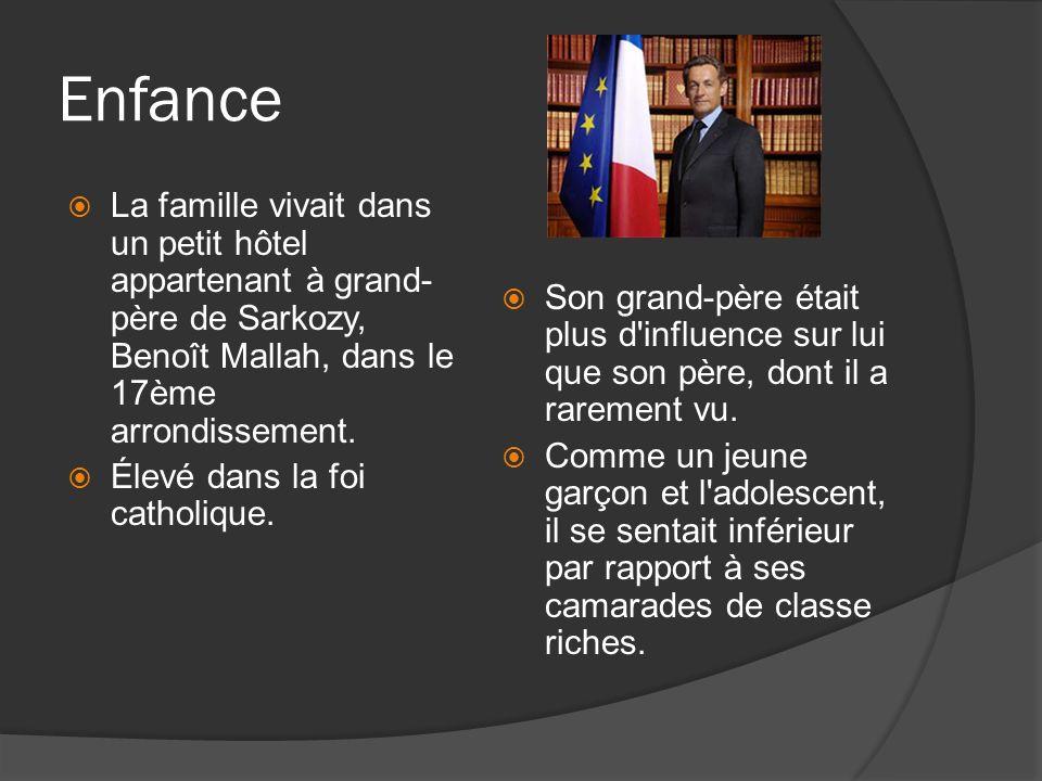 Enfance La famille vivait dans un petit hôtel appartenant à grand- père de Sarkozy, Benoît Mallah, dans le 17ème arrondissement.