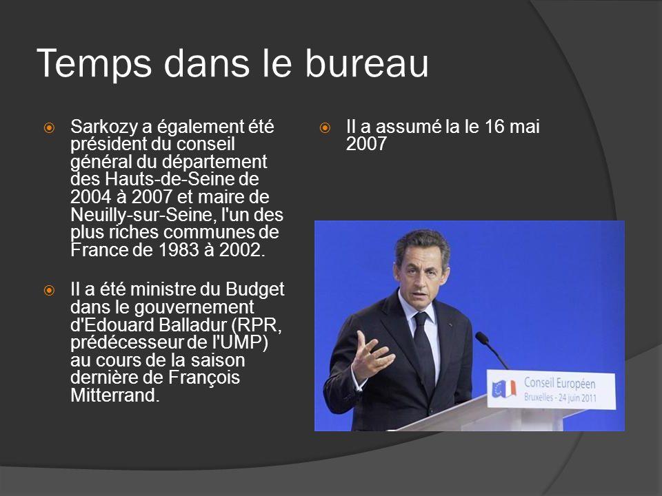 Temps dans le bureau Sarkozy a également été président du conseil général du département des Hauts-de-Seine de 2004 à 2007 et maire de Neuilly-sur-Seine, l un des plus riches communes de France de 1983 à 2002.