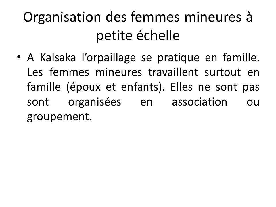 Organisation des femmes mineures à petite échelle A Kalsaka lorpaillage se pratique en famille. Les femmes mineures travaillent surtout en famille (ép