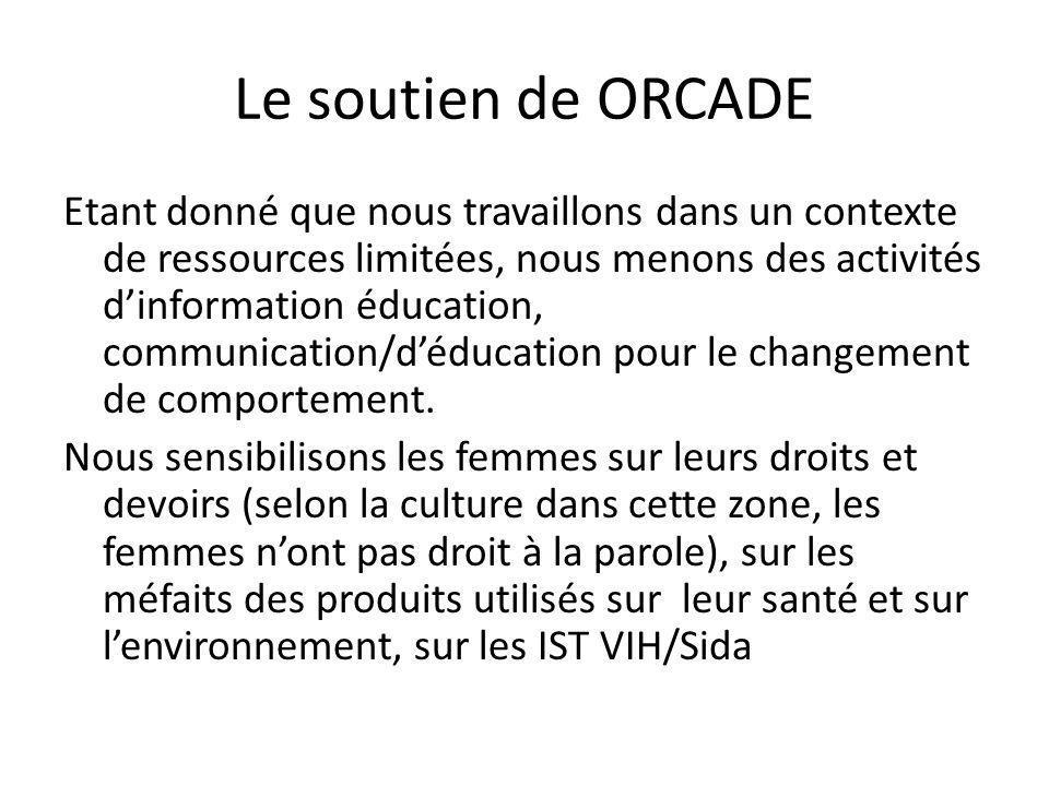 Le soutien de ORCADE Etant donné que nous travaillons dans un contexte de ressources limitées, nous menons des activités dinformation éducation, commu