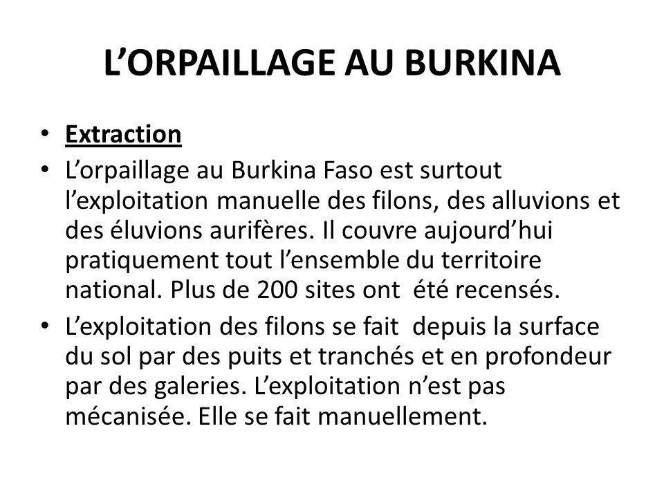 LORPAILLAGE AU BURKINA Extraction Lorpaillage au Burkina Faso est surtout lexploitation manuelle des filons, des alluvions et des éluvions aurifères.