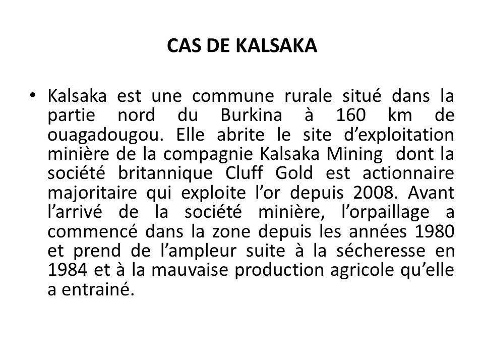 CAS DE KALSAKA Kalsaka est une commune rurale situé dans la partie nord du Burkina à 160 km de ouagadougou. Elle abrite le site dexploitation minière
