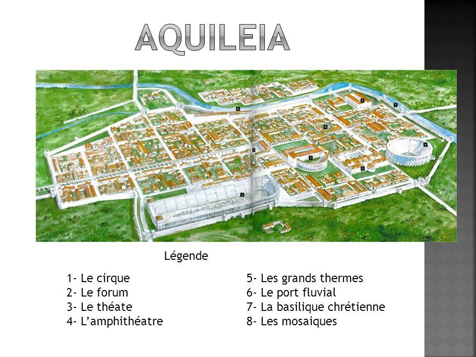 1- Le cirque 2- Le forum 3- Le théate 4- Lamphithéatre 5- Les grands thermes 6- Le port fluvial 7- La basilique chrétienne 8- Les mosaiques Légende