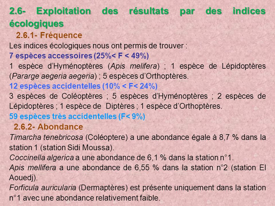 2.6- Exploitation des résultats par des indices écologiques 2.6.1- Fréquence Les indices écologiques nous ont permis de trouver : 7 espèces accessoire