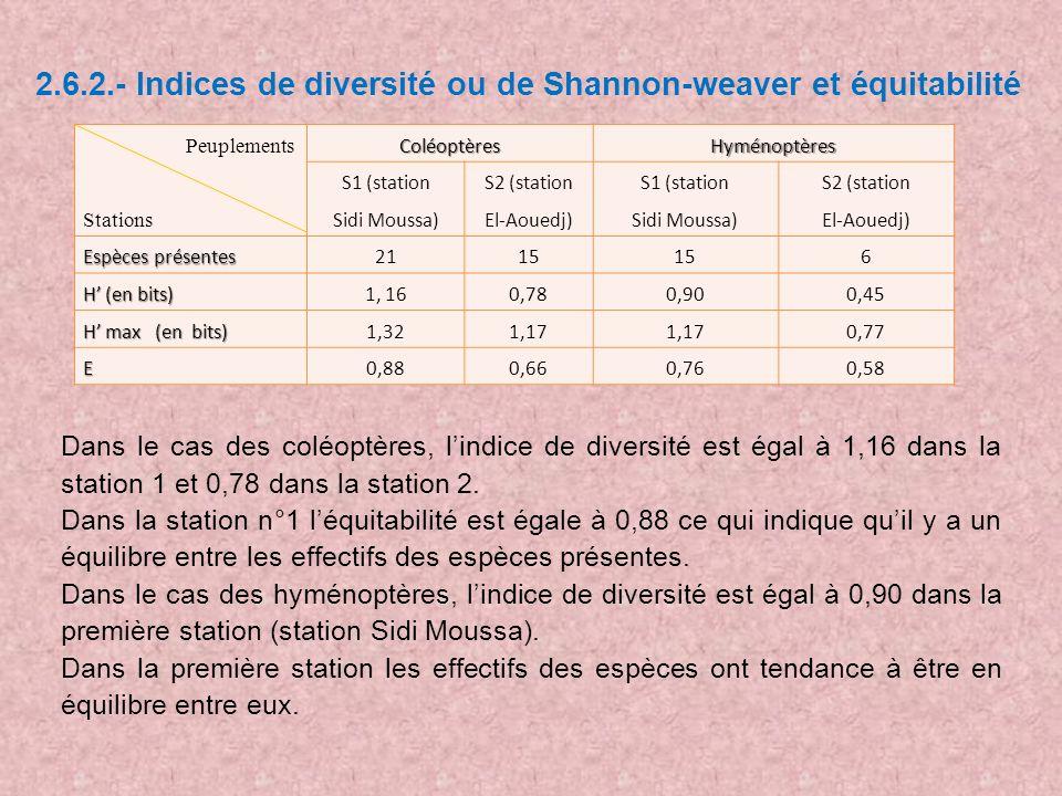 2.6.2.- Indices de diversité ou de Shannon-weaver et équitabilité Peuplements StationsColéoptèresHyménoptères S1 (station Sidi Moussa) S2 (station El-