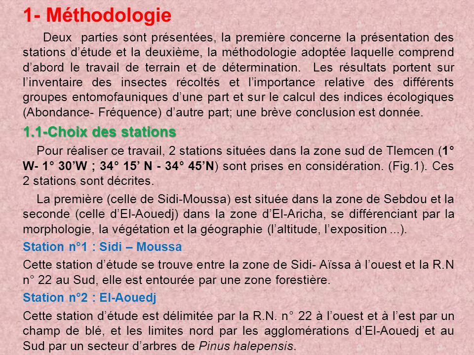 1- Méthodologie Deux parties sont présentées, la première concerne la présentation des stations détude et la deuxième, la méthodologie adoptée laquelle comprend dabord le travail de terrain et de détermination.