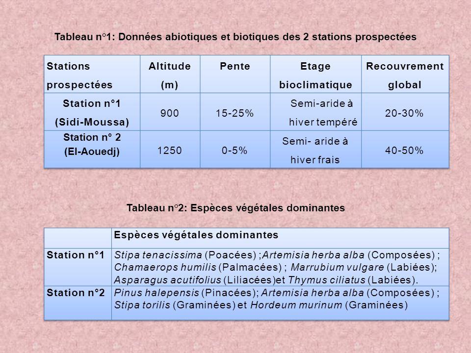 Tableau n°1: Données abiotiques et biotiques des 2 stations prospectées Tableau n°2: Espèces végétales dominantes