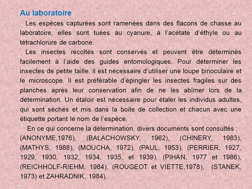 Au laboratoire Les espèces capturées sont ramenées dans des flacons de chasse au laboratoire, elles sont tuées au cyanure, à lacétate déthyle ou au té