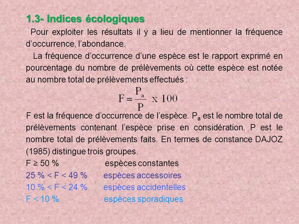 1.3- Indices écologiques Pour exploiter les résultats il y a lieu de mentionner la fréquence doccurrence, labondance. La fréquence doccurrence dune es