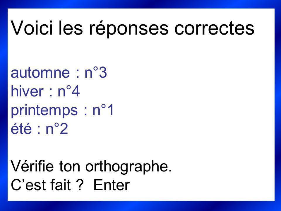 Voici les réponses correctes automne : n°3 hiver : n°4 printemps : n°1 été : n°2 Vérifie ton orthographe. Cest fait ? Enter