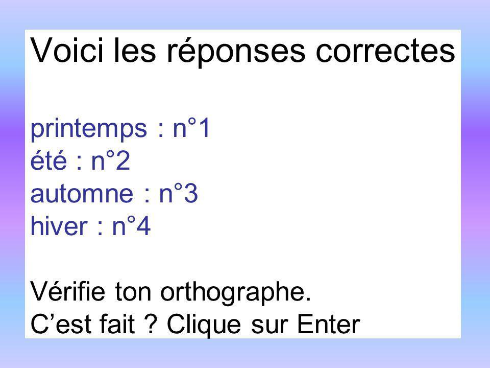 Voici les réponses correctes printemps : n°1 été : n°2 automne : n°3 hiver : n°4 Vérifie ton orthographe. Cest fait ? Clique sur Enter
