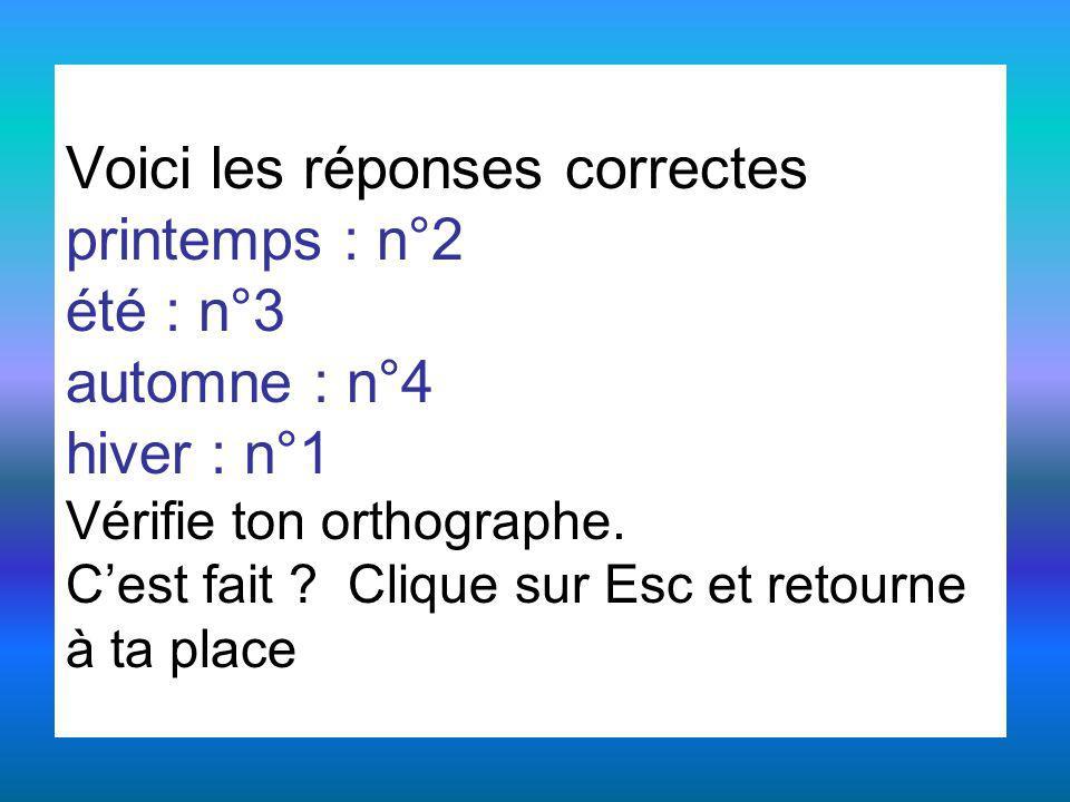 Voici les réponses correctes printemps : n°2 été : n°3 automne : n°4 hiver : n°1 Vérifie ton orthographe. Cest fait ? Clique sur Esc et retourne à ta