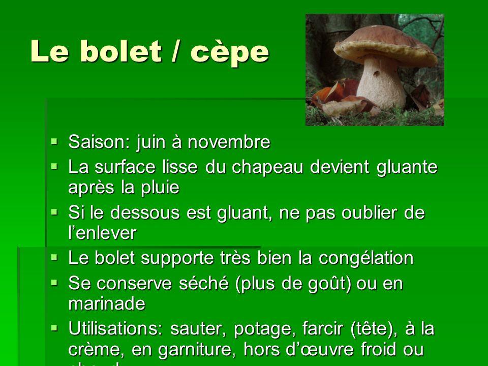Le bolet / cèpe Saison: juin à novembre Saison: juin à novembre La surface lisse du chapeau devient gluante après la pluie La surface lisse du chapeau
