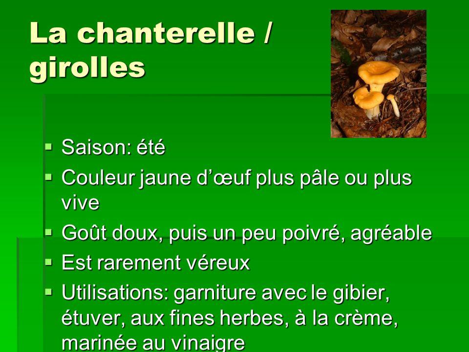 La chanterelle / girolles Saison: été Saison: été Couleur jaune dœuf plus pâle ou plus vive Couleur jaune dœuf plus pâle ou plus vive Goût doux, puis