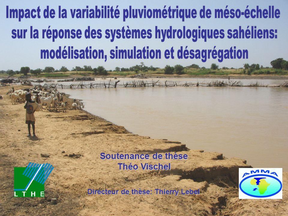 29 IMPACT DE LA VARIABILITE PLUVIOMETRIQUE DE MESO-ECHELLE DANS LES MODELES HYDROLOGIQUES Risque de sous estimation du ruissellement Modèles hydrologiques Forte sensibilité des systèmes hydrologiques endoréiques régionaux à la variabilité pluviométrique de méso-échelle Conséquence: il faut restituer la variabilité de méso-échelle Simulation de champs de pluie Maille MCG Impact variabilité spatiale Bilan Pluie moyenne spatiale IV.