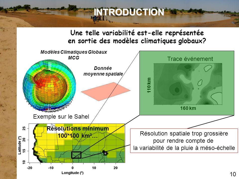 Modèles Climatiques Globaux MCG Exemple sur le Sahel Donnée moyenne spatiale Résolutions minimum 100*100 km²… INTRODUCTION Une telle variabilité est-e