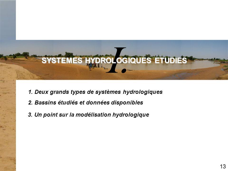I. SYSTEMES HYDROLOGIQUES ETUDIES 2. Bassins étudiés et données disponibles 1. Deux grands types de systèmes hydrologiques 13 3. Un point sur la modél