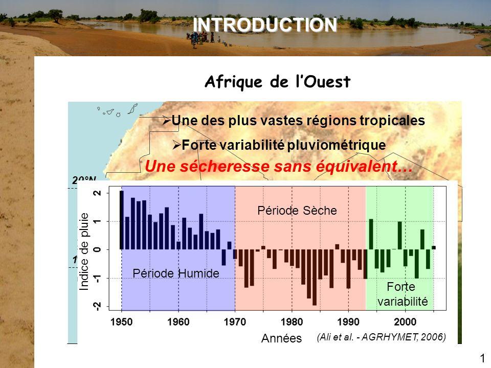 ELABORATION DE SCENARIOS HYDRO-CLIMATIQUES Modifications passées de la pluviométrie à méso-échelle Nombre dévénements Hauteur moyenne Le Barbé et al., 2002 Station de Niamey Période humide 1950-1969 Période sèche 1970-1989 SCM = Signature de la variabilité climatique Diminution du nombre dévénements pluvieux Intensité plus stable Approche ponctuelle Nécessité daffiner cette étude par une approche spatiale: Utile pour létude des systèmes hydrologique à léchelle régionale II.