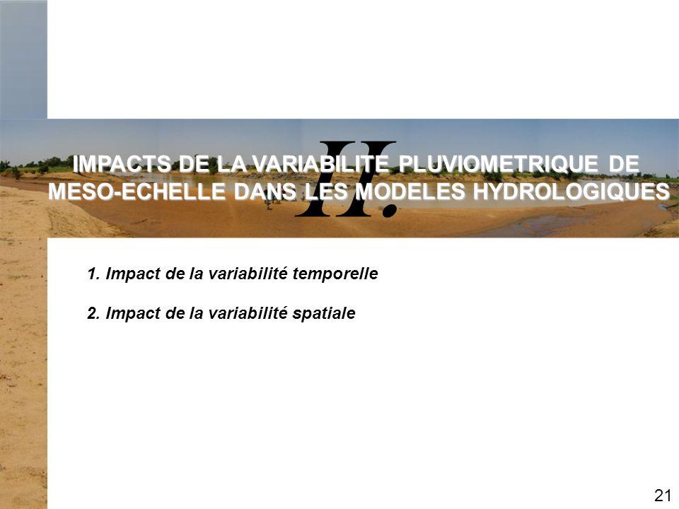 II. IMPACTS DE LA VARIABILITE PLUVIOMETRIQUE DE MESO-ECHELLE DANS LES MODELES HYDROLOGIQUES 1. Impact de la variabilité temporelle 21 2. Impact de la