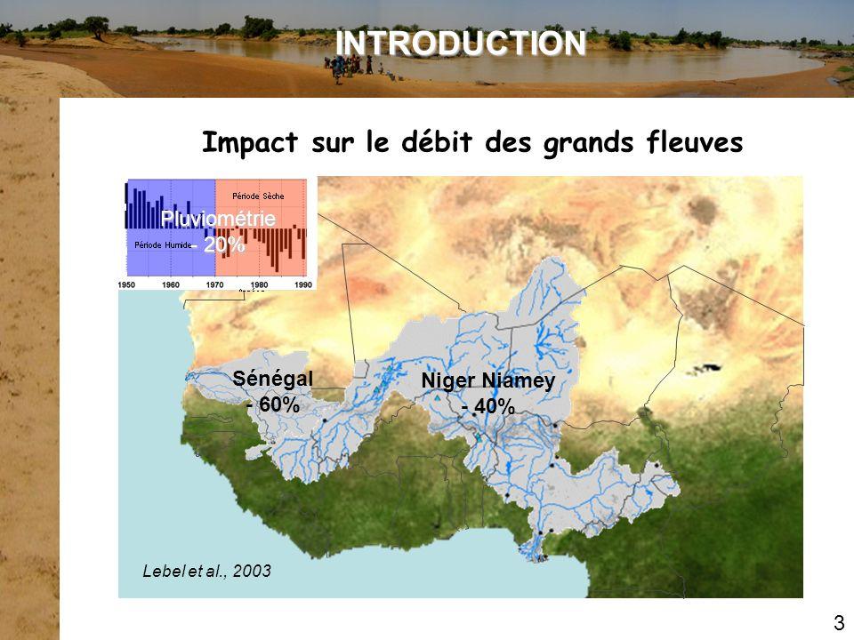 Sénégal - 60% Niger Niamey - 40% Lebel et al., 2003 Pluviométrie - 20% 3 Impact sur le débit des grands fleuves INTRODUCTION