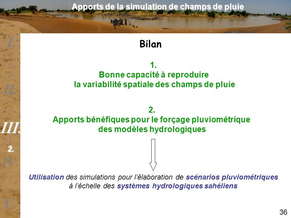 Bilan 1. Bonne capacité à reproduire la variabilité spatiale des champs de pluie 2. Apports bénéfiques pour le forçage pluviométrique des modèles hydr