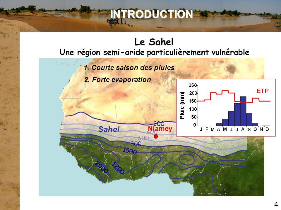Le Sahel Une région semi-aride particulièrement vulnérable 1. Courte saison des pluies 400 600 Sahel 200 800 1000 1200 2000 INTRODUCTION 2. Forte évap