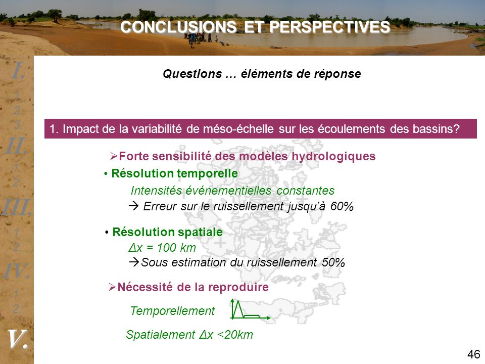 1. Impact de la variabilité de méso-échelle sur les écoulements des bassins? Forte sensibilité des modèles hydrologiques Résolution temporelle IV. V.