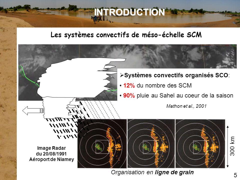 Mathon et al., 2001 5 Les systèmes convectifs de méso-échelle SCM INTRODUCTION Organisation en ligne de grain Image Radar du 20/08/1991 Aéroport de Ni