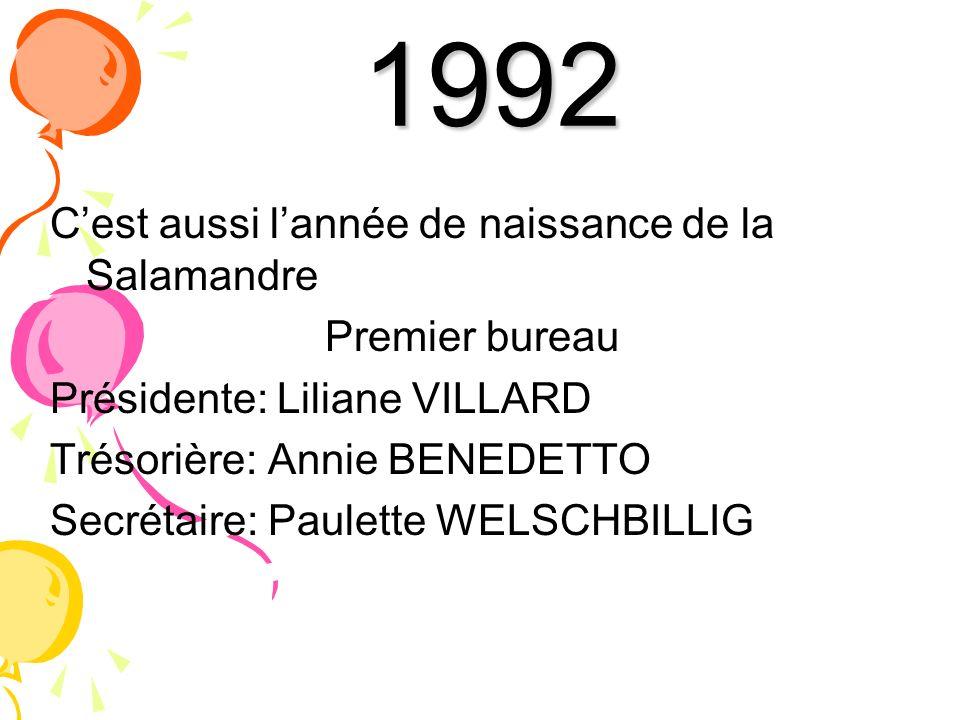 1992 Cest aussi lannée de naissance de la Salamandre Premier bureau Présidente: Liliane VILLARD Trésorière: Annie BENEDETTO Secrétaire: Paulette WELSC