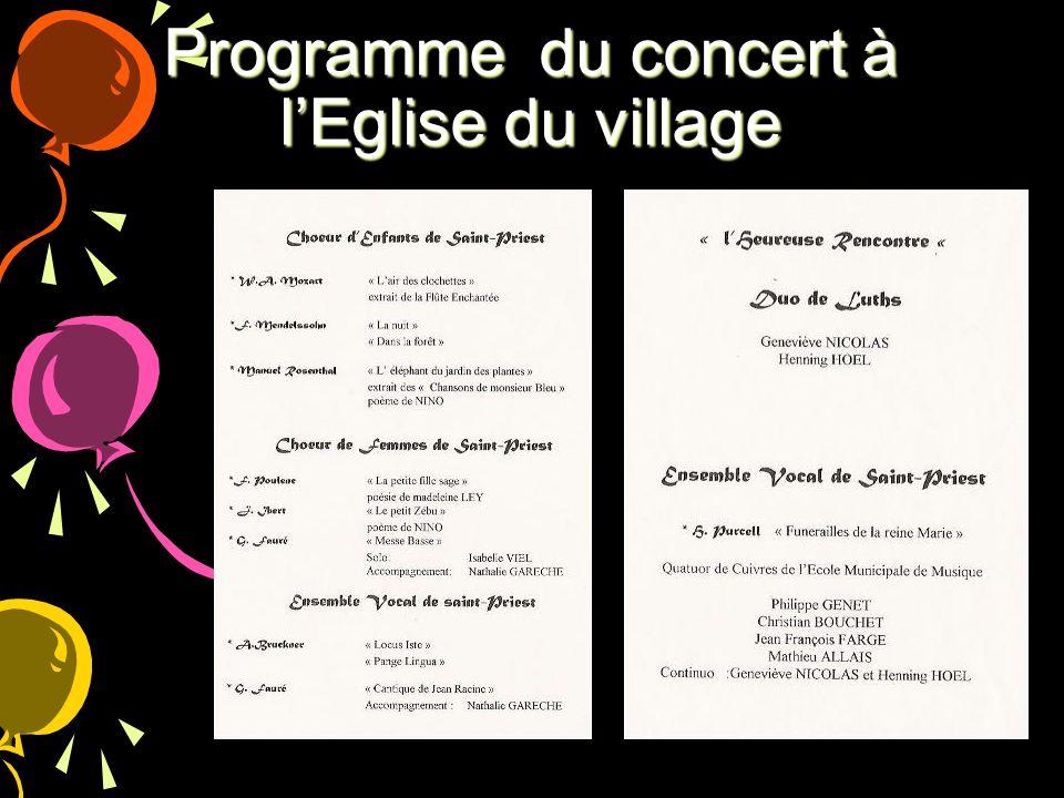 Programme du concert à lEglise du village