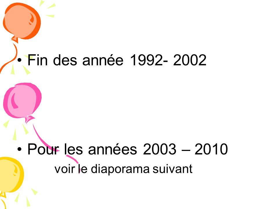 Fin des année 1992- 2002 Pour les années 2003 – 2010 voir le diaporama suivant