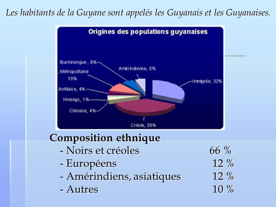 Les habitants de la Guyane sont appelés les Guyanais et les Guyanaises. Composition ethnique - Noirs et créoles - Européens - Amérindiens, asiatiques