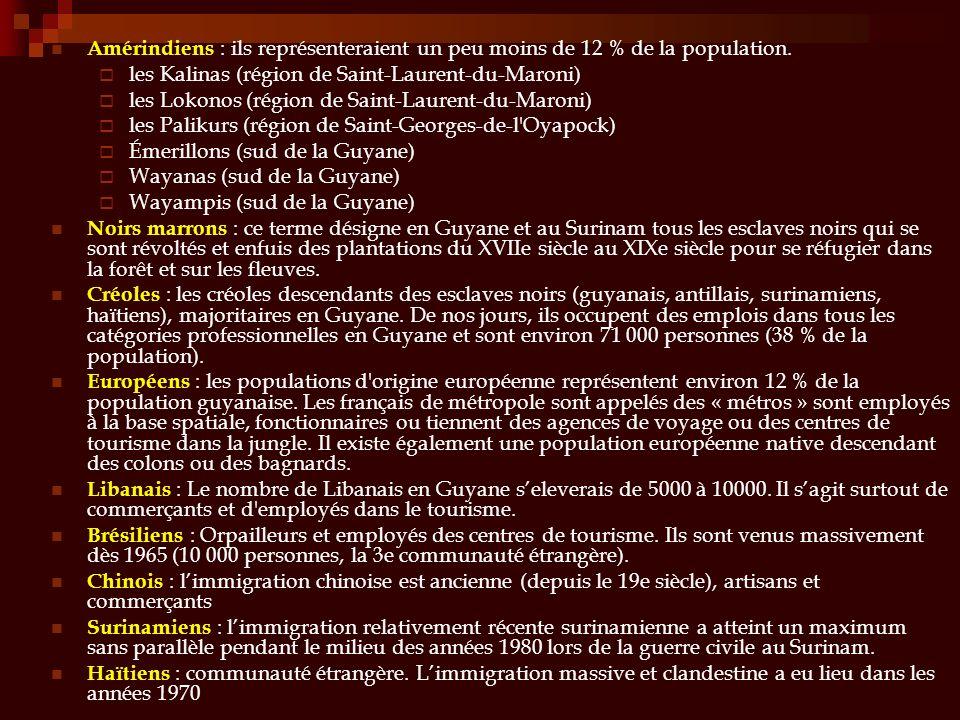 Amérindiens : ils représenteraient un peu moins de 12 % de la population. les Kalinas (région de Saint-Laurent-du-Maroni) les Lokonos (région de Saint