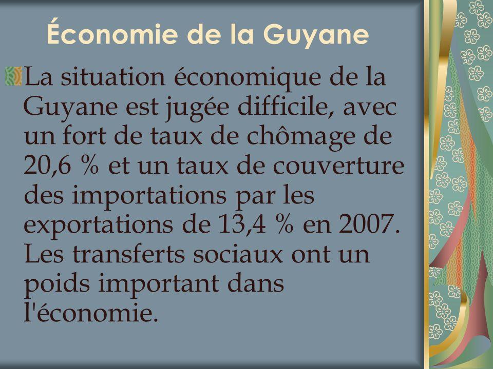 Économie de la Guyane La situation économique de la Guyane est jugée difficile, avec un fort de taux de chômage de 20,6 % et un taux de couverture des
