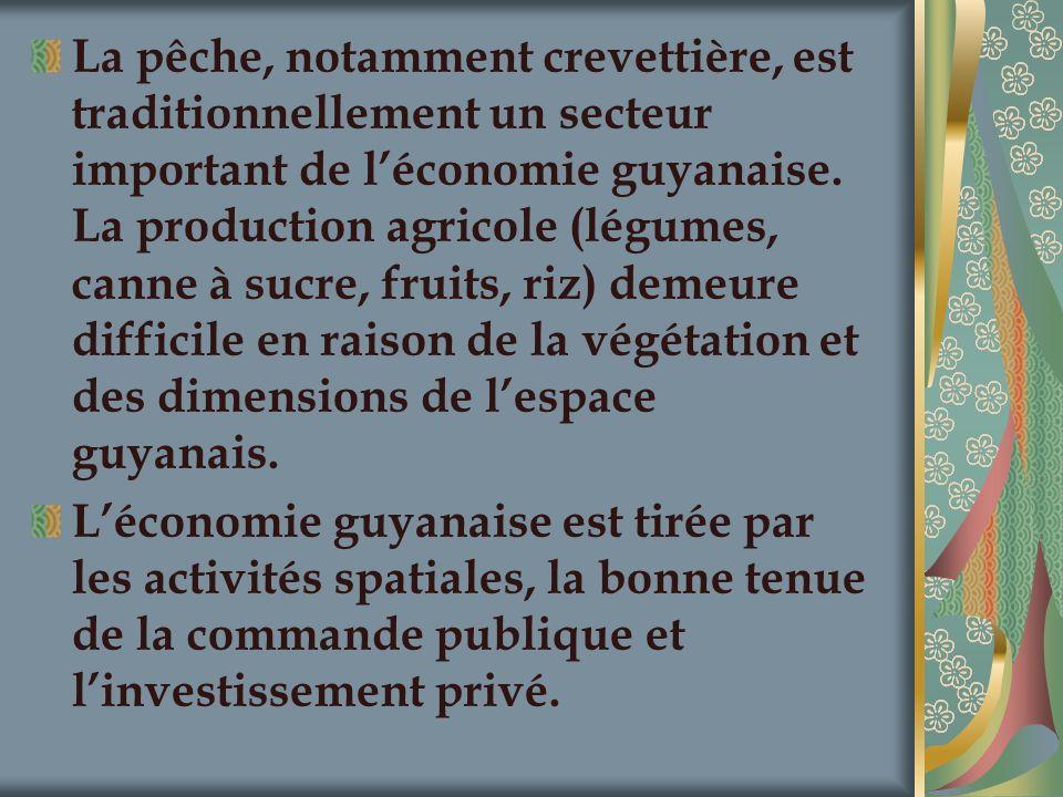 La pêche, notamment crevettière, est traditionnellement un secteur important de léconomie guyanaise. La production agricole (légumes, canne à sucre, f