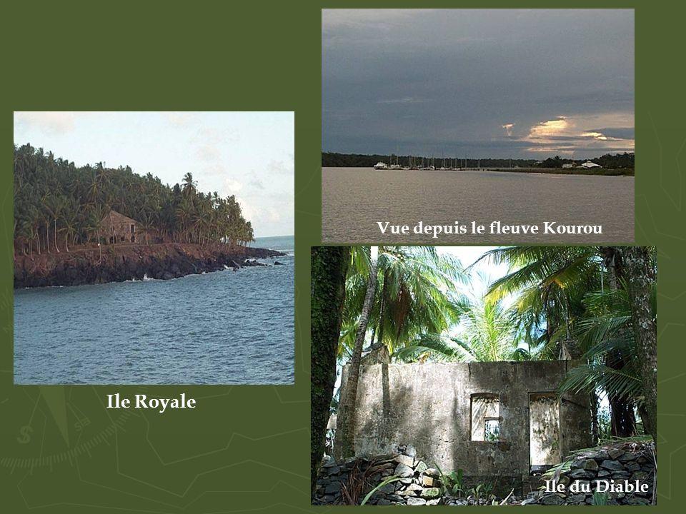 Vue depuis le fleuve Kourou Ile du Diable Ile Royale