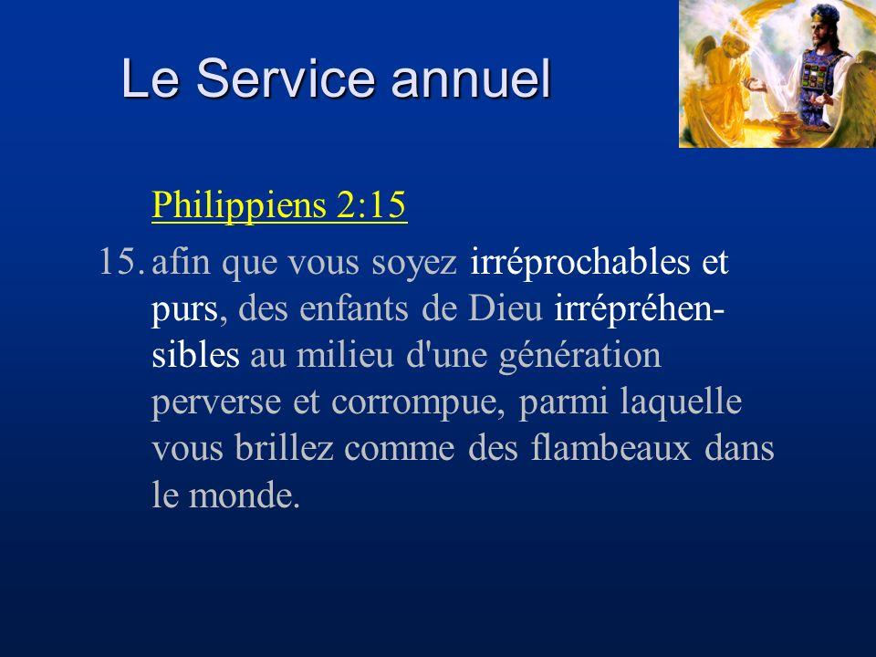 Le Service annuel Philippiens 2:15 15.afin que vous soyez irréprochables et purs, des enfants de Dieu irrépréhen- sibles au milieu d'une génération pe