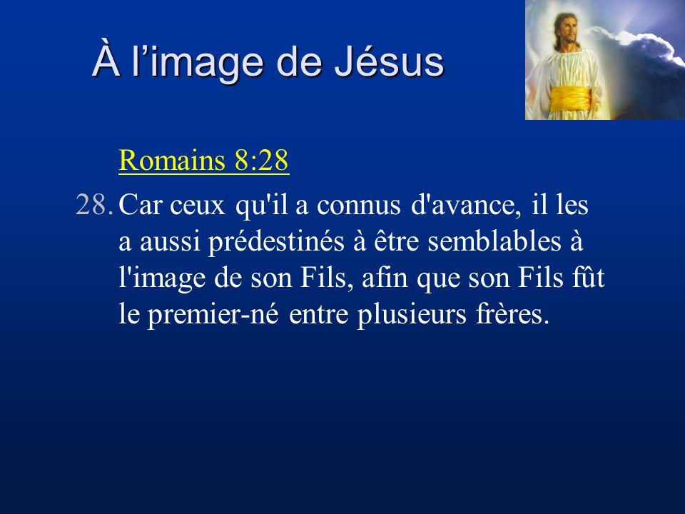 À limage de Jésus Romains 8:28 28.Car ceux qu'il a connus d'avance, il les a aussi prédestinés à être semblables à l'image de son Fils, afin que son F
