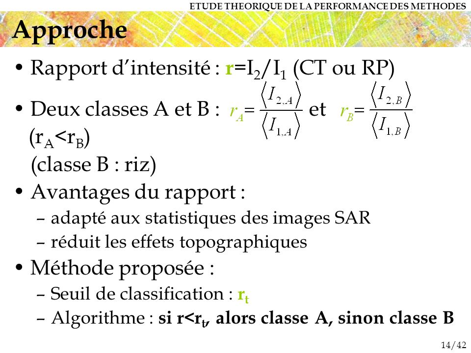 14/42 Rapport dintensité : r =I 2 /I 1 (CT ou RP) Deux classes A et B : et (r A <r B ) (classe B : riz) Avantages du rapport : –adapté aux statistique