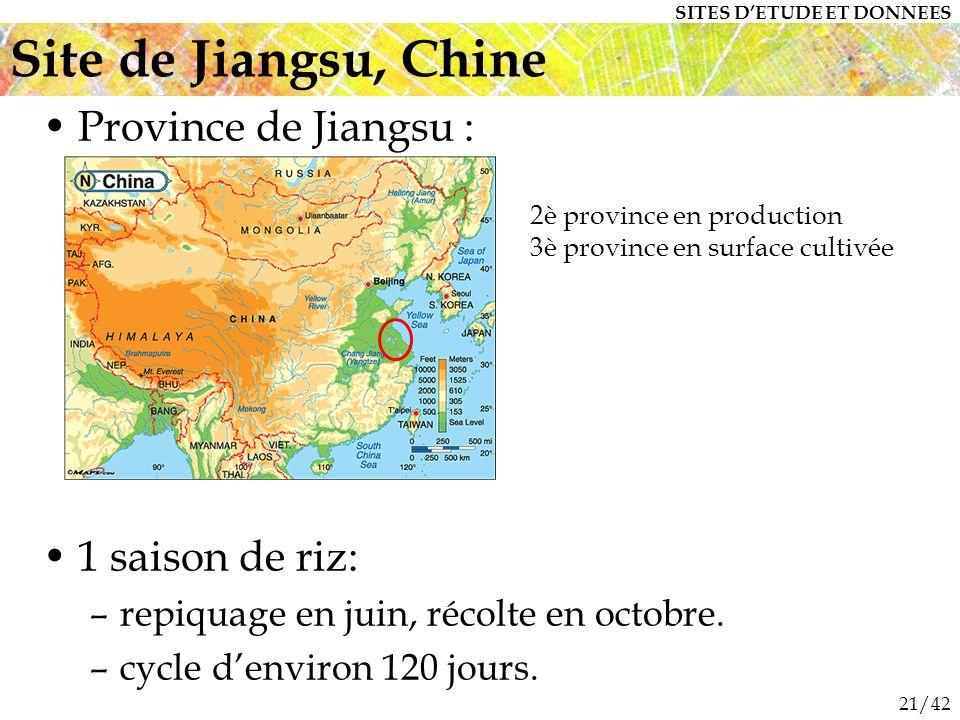 21/42 Province de Jiangsu : 1 saison de riz: –repiquage en juin, récolte en octobre.
